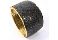 Antique Style Openable Oval Bangle Cuff .925 Sterling Silver with Pave Black Diamonds