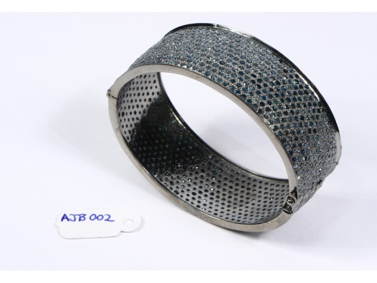 Antique Style Openable Oval Bangle Cuff .925 Sterling Silver with Pave Blue Diamonds