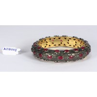 Antique Style Openable Bangle Cuff .925 Sterling Silver with Pave Diamonds and Ruby