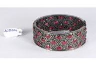 Antique Style Openable Oval Bangle Cuff .925 Sterling Silver with Diamonds and Ruby