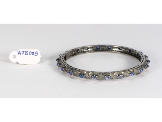 Antique Style Openable Round Bangle .925 Sterling Silver with Pave Diamonds and Blue Sapphires