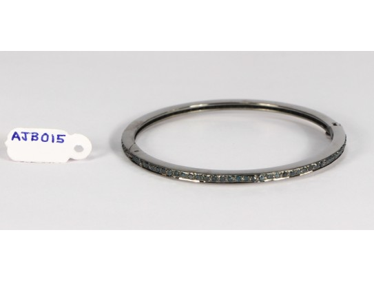 Antique Style Openable Round Bangle  .925 Sterling Silver with Single Line Pave Blue Diamonds