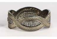 Antique Style Openable Oval Textured Leaf Design Bangle Cuff .925 Sterling Silver with Diamonds