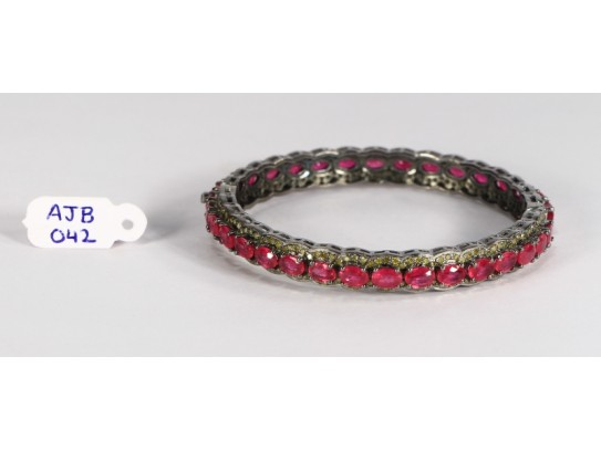 Antique Style Openable Round Bangle .925 Sterling Silver with Colored Pave Diamonds and Ruby