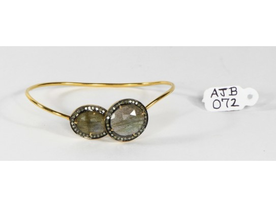 Antique Style Openable Round Bangle 14Kt Gold .925 Sterling Silver with Diamonds and Labrodrite