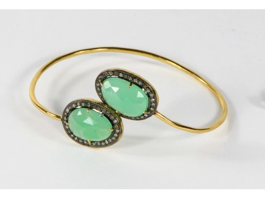 Antique Style Openable Round Bangle 14Kt Gold .925 Sterling Silver with Diamonds and Chrysoprase