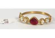 Antique Style Organic Bangle  .925 Sterling Silver Gold Micron Plated with Citrine Pearls and Carved Ruby