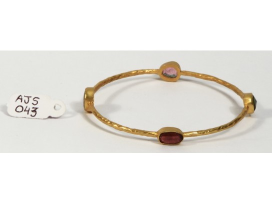 Antique Style Organic Bangle  .925 Sterling Silver Gold Micron Plated with Multi Tourmaline