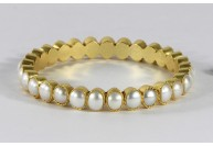 Antique style Organic Hammered Round Simple Matte Women Bangle .925 Sterling Silver with Gold Plating with Pearl Gemstones