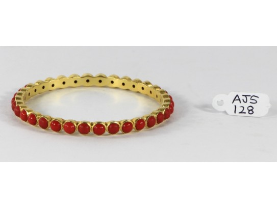 Antique Style Organic Bangle  .925 Sterling Silver Gold Micron Plated with Coral
