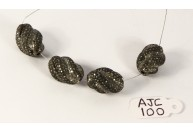 Antique Style Fancy Shape Bead Finding .925 Sterling Silver with Oxidized Pave Diamonds