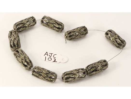 Antique Style Fancy Oblong shape Bead Finding .925 Sterling Silver with Oxidized Pave Diamonds