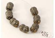 Antique Style Fancy Peanut shape Bead Finding .925 Sterling Silver with Oxidized Pave Diamonds