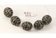 Antique Style Fancy Cutwork Bead Finding .925 Sterling Silver with Oxidized Pave Diamonds