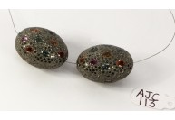 Antique Style Big Egg Shape Bead Finding .925 Sterling Silver with Oxidized Pave Diamonds and Sapphires