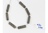Antique Style Rectangular 3-D Fancy Bead Finding .925 Sterling Silver with Oxidized Pave Diamonds