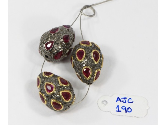 Antique Style Fancy Drop shape Bead Finding .925 Sterling Silver with Oxidized Pave Diamonds and Ruby