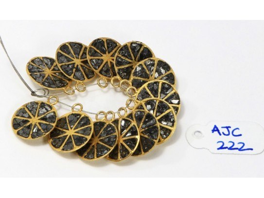 Antique Style Fancy Bead Finding .925 Sterling Silver Gold Plated with Oxidized Black Pave Diamonds