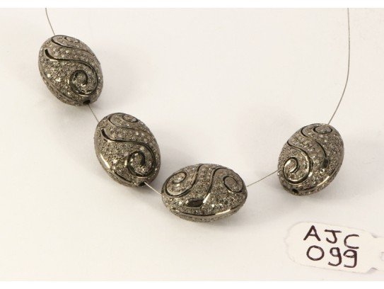 Antique Style Egg Shape Spiral Bead Finding .925 Sterling Silver with Oxidized Pave Diamonds