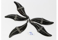 Antique Style Feather Design Black Color Bone Charm Finding Pendant .925 Sterling Silver with Oxidized Pave Diamonds