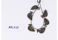 Antique Style Bird Charm Finding .925 Sterling Silver with Oxidized Pave Diamonds and Ruby