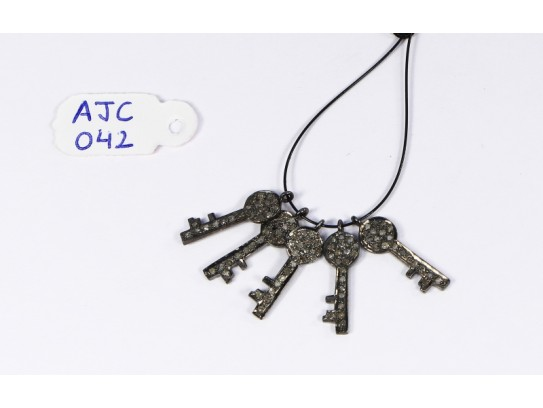 Antique Style Key Charm Finding .925 Sterling Silver with Oxidized Pave Diamonds