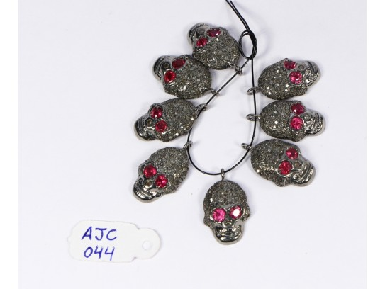 Antique Style Skull Charm Finding .925 Sterling Silver with Oxidized Pave Diamonds and Ruby