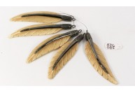 Antique Style Feather Design Natural Color Bone Charm Finding Pendant .925 Sterling Silver with Oxidized Pave Diamonds
