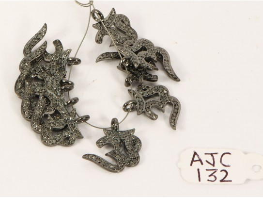 Antique Style Om shape Charm Finding .925 Sterling Silver with Oxidized Pave Diamonds