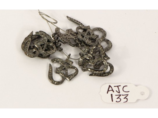 Antique Style Big Om shape Charm Finding .925 Sterling Silver with Oxidized Pave Diamonds