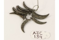 Antique Style Crescent Moon shape Charm Finding .925 Sterling Silver with Oxidized Pave Diamonds