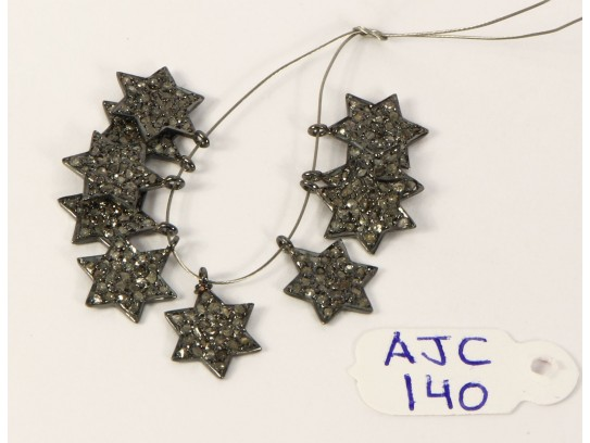 Antique Style Star shape Charm Finding .925 Sterling Silver with Oxidized Pave Diamonds