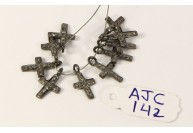 Antique Style Cross shape Charm Finding .925 Sterling Silver with Oxidized Pave Diamonds