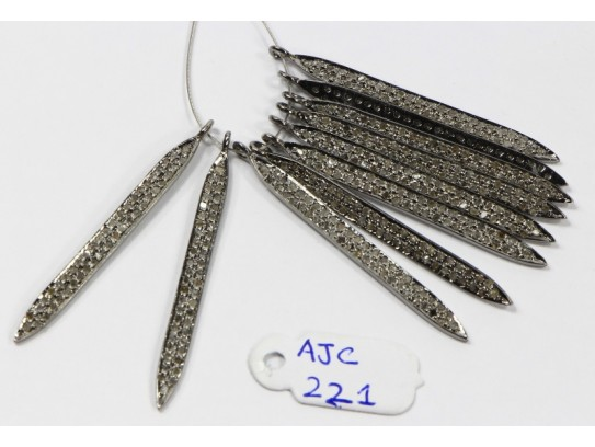 Antique Style Long Stick Dagger Design Charm Finding  .925 Sterling Silver with 2 rows of Oxidized Pave Diamonds