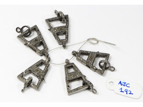 Antique Style Double Sided Clasp Lock Finding .925 Sterling Silver with Oxidized Pave Diamonds