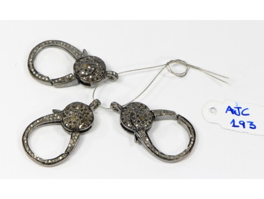 Antique Style Big Double Sided Clasp Lock Finding .925 Sterling Silver with Oxidized Pave Diamonds