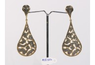 Antique Style Long Dangling 2-Tone  Earrings .925 Sterling Silver with Oxidized Black Pave Diamonds