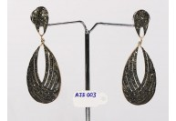 Antique Style Long Dangling  Earrings .925 Sterling Silver with Oxidized Black Pave Diamonds