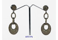 Antique Style Long Dangling  Link Style Earrings .925 Sterling Silver with Oxidized  Pave Diamonds