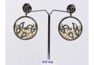 Antique Style Round Dangling 2-Tone  Earrings .925 Sterling Silver with Oxidized Pave Diamonds