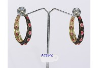 Antique Style Hoops Earrings .925 Sterling Silver with Oxidized  Pave Diamonds and Ruby Gemstone
