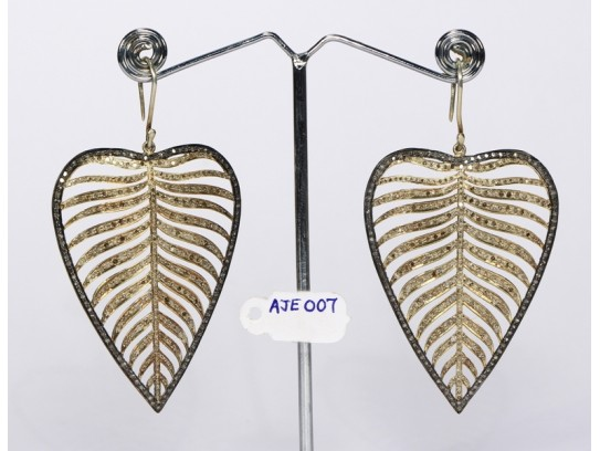Antique Style Big Dangling 2-Tone  Earrings Leaf Design Gold Plated .925 Sterling Silver with Pave Diamonds