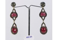 Antique Style Long Dangling  Earrings .925 Sterling Silver with Oxidized  Pave Diamonds and Ruby