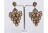 Antique Style Long Dangling  Earrings Grape Design  .925 Sterling Silver with Oxidized  Pave Diamonds and Orange Moonstone