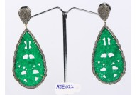 Antique Style Dangling  Drop Shape Earrings 14kt Gold  .925 Sterling Silver with Oxidized  Pave Diamonds and Carved Green Onyx Aventurine