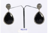 Antique Style Dangling  Drop Shape Earrings 14kt Gold  .925 Sterling Silver with Oxidized  Pave Diamonds and Black Onyx
