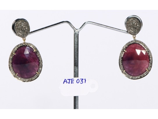 Antique Style Dangling  Earrings 14kt Gold  .925 Sterling Silver with Oxidized  Pave Diamonds and Sapphires