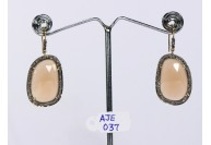 Antique Style Dangling  Earrings 14kt Gold  .925 Sterling Silver with Oxidized  Pave Diamonds and Orange Moonstone
