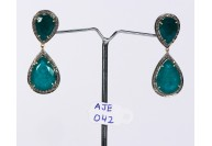 Antique Style Dangling  Earrings 14kt Gold  .925 Sterling Silver with Oxidized  Pave Diamonds and Emerald