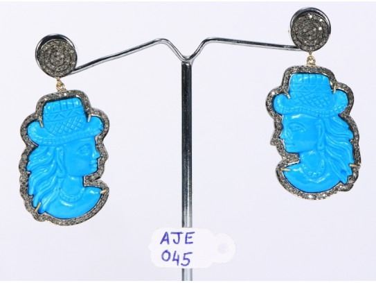 Antique Style Dangling  Earrings 14kt Gold  .925 Sterling Silver with Oxidized  Pave Diamonds and Carved Turquoise